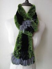 Warm Fashion soft/Real rex rabbit fur silver fox closely woven scarf/green black