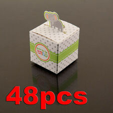 48 Elephant Born To Be Wild Jungle Baby Shower Favor Candy Boxes Party White Dot