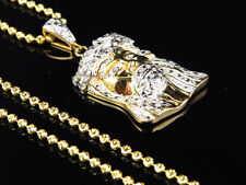 "Real Diamond Jesus Face Piece Pendant & Chain In Yellow Gold FInish 1.25"" .50Ct"
