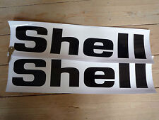 SHELL text Extra Large Black & White racing stickers