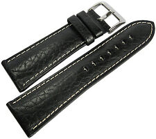 22mm Hadley-Roma MS906 Mens Black Leather Contrast Stitched Watch Band Strap