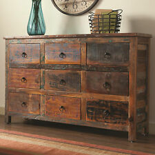 NEW RUSTICA RECLAIMED WEATHERED FINISH WOOD STORAGE CABINET / DRESSER DRAWERS