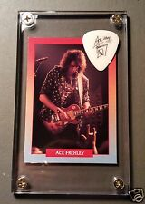 LOOK Very Nice KISS Ace Frehley Solo card / 2014 signature guitar pick display!