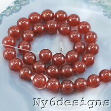 "10x10mm Natural Carnelian Round Beads 15"" (CA31)b"