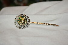 Fused Dichroic Glass Silver Toned Bobby Pin-Shades of Brown, Gold and Green #D7