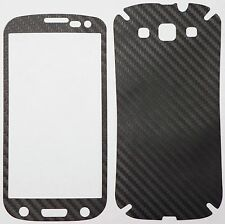 CARBON FOLIE SCHWARZ SAMSUNG GALAXY S3 I9300 FULL BODY KIT STICKER SCHUTZFOLIE