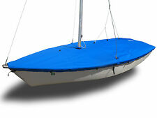 Pirateer Sailboat - SLO Sail and Canvas Boat Mast Up Flat Cover - Blue Sunbrella