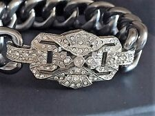 CHANEL DECO CRYSTAL RUTHENIUM CHAIN BANGLE BRACELET ELEGANT & EDGY NEW ITALY