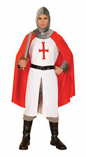 Mens English Red & White Knight Fancy Dress Costume Engl& Party Man Outfit