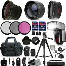 Ultimate Accessory Kit F/ Nikon DSLR Camera w/ 3 Lenses +32GB +16GB Memory
