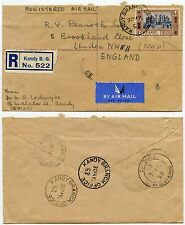 CEYLON REGISTERED KANDY BRANCH OFFICE 7 POSTMARKS AIRMAIL to GB 1952 SINGLE 1R