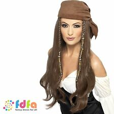 LADIES BROWN PIRATE WIG BRAIDED WITH BEADS & HEADSCARF - womens fancy dress