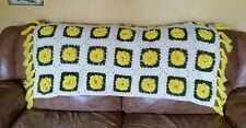 Vintage Crochet Afghan Throw Blanket 3D Rose Granny Squares Handmade Yellow EUC