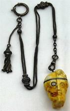 Georgian Memento Mori hafl Human half Skull poison/pill box pocket watch fob