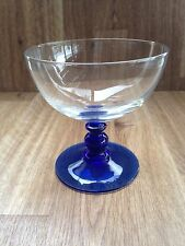 Luminarc France Cobalt Blue Stem Clear Glass Pedestal Ice Cream Dessert Bowl