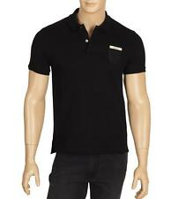 NEW GUCCI MEN'S CURRENT BLACK STRETCH COTTON WEB CREST POLO SHIRT M/MEDIUM