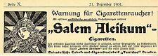 """Orientalische Tabak- u. Cigarettenfabrik """"Yenidze"""" Dresden Salem Aleikum v.1901"""