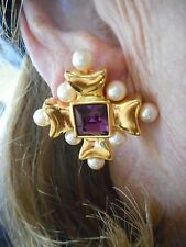 Authentic Vintage Gold Tone Michaela Von Habsburg Clip Earrings