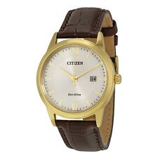 Citizen Eco-Drive Gold Tone Brown Leather Men's Watch AW1232-04A SD