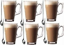 6 x 240ml Glasses - Glass Cups Mugs for Coffee / Tea / Latte / Cappucino & Spoon