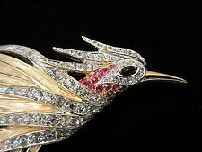 "Rare Vtg 3-1/4"" Signed & Numbered Boucher Gold Tone Rhinestone Bird Brooch A69"