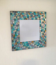 Turquoise and gold mosaic square mirror. Hand Made