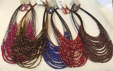 LOT  of 5 Multi-Color SEED BEAD NECKLACE SETS EARRING MULTI STRAND JEWELRY