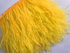 F128 PER FEET-Gold Yellow Ostrich feather fringe Trim Brooch/Fascinator Material