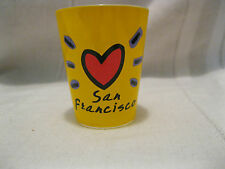 San Francisco Shot Glass Luke-A-Tuke Yellow Red Heart Bridge Cable Car Coit