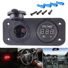 12V Car Cigarette Lighter Plug Socket + Voltmeter For GPS PSP Phones Chargi