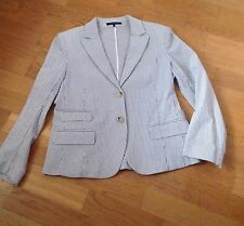 theory ivory with grey pinstripe seersucker blazer jacket - size 12