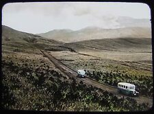 GLASS MAGIC LANTERN SLIDE BUSES NEAR VOLCANO C1920 JAPAN JAPANESE PHOTO