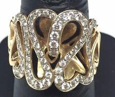 Vintage Ornate 14K Yellow Gold Heart Swirl Overlap Diamond Cocktail Ring