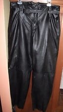 Geronimo Mens 36 Black Soft Genuine Leather Pleated Dress Pants GENTLY WORN