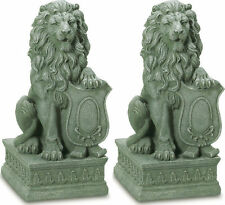 2 set LION Regal entryway step stair outdoor garden guardian statue sculpture