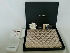 CHANEL Light Metallic Gold Perforated Leather O Case Clutch 2014