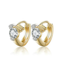 18 k Gold Plated Jewellery Small Baby Girls Hoops with Zircons Earrings E526