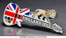 OLYMPIC PIN BADGE 2012 LONDON ENGLAND UK UNION JACK FLAG GUITAR & LION (SILVER)