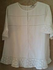 J. Crew White Flutter Sleeve Shirt Top Size 6 Pull Over NWOT