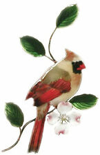 Cardinal Female- Metal Bird Wall Art Decor Sculpture by Bovano of Cheshire W4113