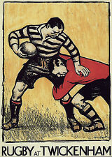 POSTER A4 -- vintage rugby a Twickenham POSTER STAMPA (Picture SPORT Ball ART)