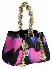 H&M VERSACE BAG PURSE SMALL HANDBAG BLACK PINK HEART SILK CHARMS LEOPARD DUST
