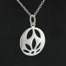 Lotus Flower Necklace - 925 Sterling Silver - Satin Finish Cutout Pendant NEW