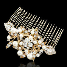 Bridesmaid Bridal Wedding Gold Plated Simulated Pearl Austrian Crystal Hair Comb