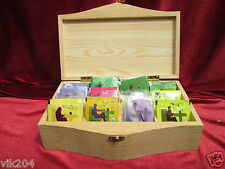Plain Pine wood Tea Box 12 Compartments Removable Dividers Tea Bag Chest storage