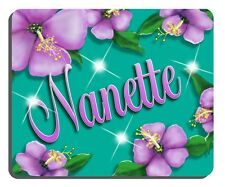 Lavender Hibiscus Mouse Pad Teal Background Personalize Gifts Any Name Or Text