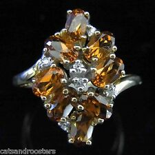 Diamonds Gemstones 10k Yellow Gold Cluster Cocktail Ring Estate Vintage