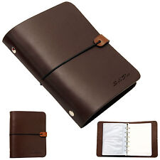 Whole leather vintage Notebook Travel diary journal Instax photo album DarkBrown