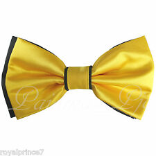 Two Tone Black GOLD Pretied Bow tie Only Wedding Formal Prom