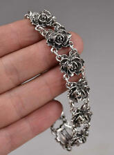 Old Decorated Handwork Miao Silver Carved Flower Bracelet **Free Sh
